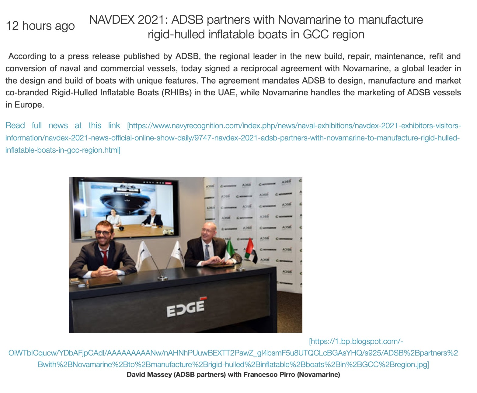 NAVDEX 2021_ ADSB partners with Novamarine to manufacture rigid-hulled inflatable boats in GCC region _ World Defence News